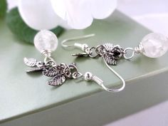Bridal Earrings Silver and White Frosted Brides by YoursTrulli, $24.00
