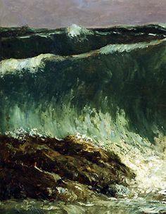 Gustave Courbet - Waves (detail), c. Henri Fantin Latour, Art Français, Gustave Courbet, French Paintings, Sense Of Place, Sea And Ocean, Famous Artists, Earth Tones, Oeuvre D'art