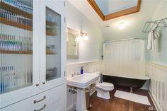 bathroom. Like train rack and cupboard doors