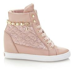 FORTY LACE WEDGE SNEAKER ($150) ❤ liked on Polyvore featuring shoes, sneakers, wedged sneakers, lace wedge sneakers, lace sneakers, wedge trainers and lacy shoes