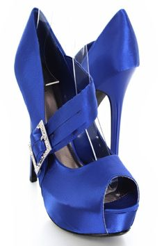 Very stylish heels featuring satin upper with rhinestone buckle mid strap, peep toe, smooth lining, and cushioned footbed. Approximately 5 inch heels and 1 inch hidden platforms.