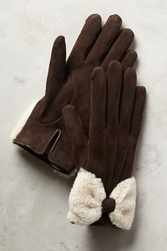Shearling Bow Gloves - anthropologie.com #anthrofave