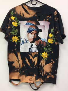 Tupac tee w floral patches by byamberbryn on Etsy