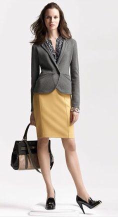 Skirt Blazer Accessories Shirt Business Casual Gold & Grey