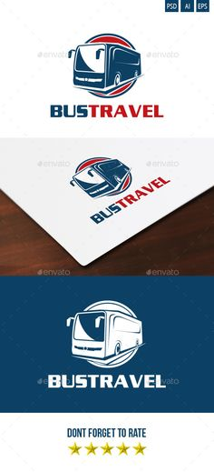 Bus Travel Logo — Photoshop PSD #blue #automotive logo • Available here → https://graphicriver.net/item/bus-travel-logo/5127684?ref=pxcr