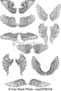 Heraldic bird or angel wings set isolated on white for relig.- Heraldic bird or angel wings set isolated on white for religious,… Heraldic Vogel oder Engel Flügel Satz Lizenzfreies vektor illustration - Body Art Tattoos, New Tattoos, Cross Tattoos, White Tattoos, Couple Tattoos, Wing Tattoo Designs, Design Tattoos, Schulter Tattoo, Trendy Tattoos