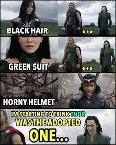 Hela, Black of hair. Loki, Black of hair. Thor, gold of hair. CSI: Asgard<<<<<<<< ugh ppl should know that Thor is NOT Loki's brother! Odin is Loki's brothers! Loki Meme, Avengers Humor, Marvel Jokes, The Avengers, Funny Marvel Memes, Funny Jokes, Hilarious, Loki Thor, Loki Laufeyson
