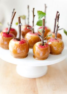 Caramel-dipped apples on a stick as wedding dessert or wedding favors #gardenparty #gardenpartywedding #weddingfavors #dessert #diywedding