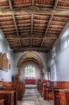 Interior of medieval church St Botolph, Wardley.  For sale