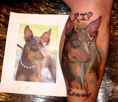 dog tattoo, artist not listed