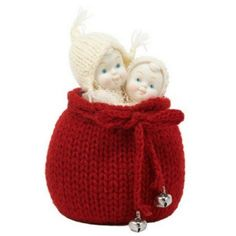 Surprise from Santa www.teeliesfairygarden.com Delight your fairies with this cute surprise from Santa! No one could resist this adorable duo. #fairysnowbaby