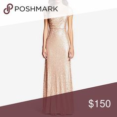 Short sleeve sequin gown Rows of shimmering sequins cover this floor-grazing gown, featuring a fitted and alluring silhouette. Only worn once for a wedding. No alterations made. Adrianna Papell Dresses Maxi