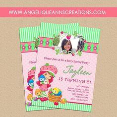 Strawberry Shortcake Girl's Birthday Party Invitations