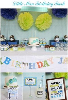 child birthday little man theme | Kiddie Parties| Little Man Mustache Themed Birthday Party| Boobooska