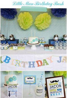 child birthday little man theme | Kiddie Parties| Little Man Mustache Themed Birthday Party| Boobooska