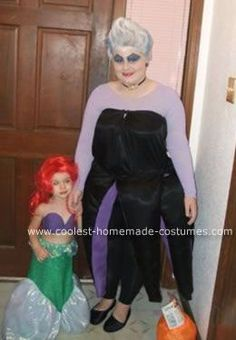 Homemade  Ursula the Sea Witch and Ariel Costumes: My 2 year old niece is obsessed with Disney princesses.  Her favorite princess is Ariel from The Little Mermaid.  Last year she decided to be Ariel for
