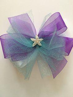 Ariel Hair Bow Little Mermaid Hair Bow Ariel Bow Purple Organza Ribbon with Aqua…