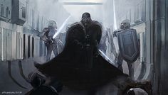 Ralph McQuarrie artwork - concepts. Interesting to see stormtroopers with lightsabers and shields.