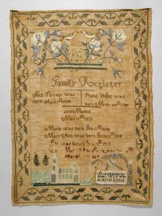 Mary Ann Savage's Family Register Sampler :: Connecticut History Online