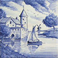 A range of traditional handmade delft designs featuring full landscapes from the Douglas Watson Studio. Chinoiserie, Delft Tiles, Cottage In The Woods, Blue Pottery, Blue And White China, Stained Glass Designs, Handmade Tiles, Architectural Features, Decorative Tile