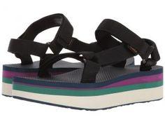 Teva Flatform Universal Retro (Black) Women's Toe Open Shoes
