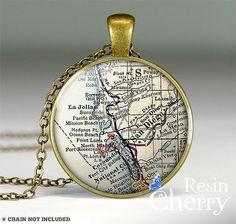 vintage San Diego map necklace pendant