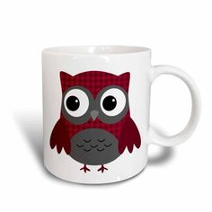 3dRose Cute Ruby Red Houndstooth Patterned Owl, Ceramic Mug, 11-ounce