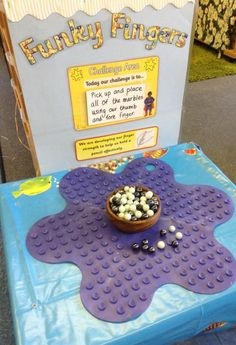 Placing marbles on an upturned bath mat or shower grip shapesMy new funky finger table gymLove this finger strengthening idea!Like the idea of a Challenge AreaIrresistible early Years ideas for your indoor and outdoor provision. Preschool Fine Motor Skills, Motor Skills Activities, Gross Motor Skills, Preschool Activities, Physical Activities, Dyslexia Activities, Preschool Centers, Movement Activities, Therapy Activities