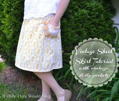 Skirt Week Guest Tutorial:  If Only They Would Nap - Vintage sheet and doilies paired for a fantastic vintage skirt!