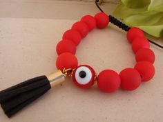 Gorgeous Red Handmade Evil Eye Tassel Macrame Bracelet Greek Mati by ForThatSpecialDay on Etsy