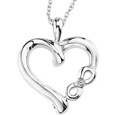 """New from Argentium's silver Symbolic Hearts Collection is """"Infinite Love"""", a 3/4"""" unique heart pendant with a .01cttw diamond accent. An 18""""..."""