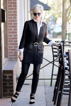 Style at a Certain Age - black duster coat