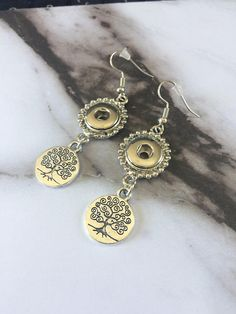Ginger Snap Style Inspired Earrings  //  Tree of Life  //  Perfect for Petite Snaps Charms Buttons  //  Silver Dangle Earrings