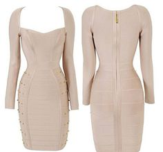 Studs on a neutral fitted dress!