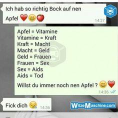 Lustige WhatsApp Bilder und Chat Fails 194 - Äpfel sind ungesund