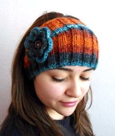 winter trend Flower Headband warm knit headband by likeknitting, $14.99