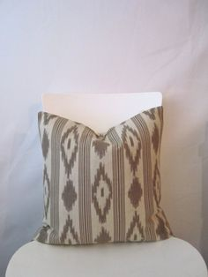 18 inch throw pillow cover, ikat tribal print. Blanket print in brown colors. For indoor use.