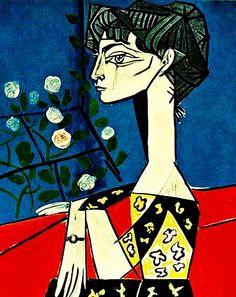 """Jacqueline with Flowers""......Artist: Pablo Picasso Completion Date: 1954 Style: Cubism Period: Later Years Genre: portrait Technique: oil Material: canvas Dimensions: 116 x 88.5 cm Gallery: Musée Picasso, Paris, France."