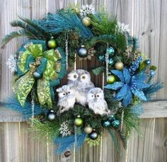 Winter Owl Family Christmas Wreath