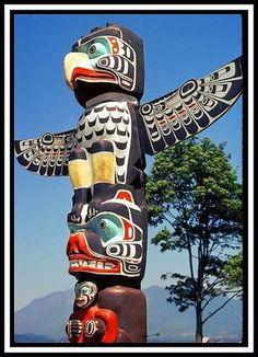 Native American  totem poles paintings | Haida Totem Poles : Vancouver, Canada. 18th Century. These ...