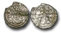 Edward IV (1461-1483), Penny, 0.49g., Heavy Cross and Pellets Coinage (1465), Drogheda mint, crowned facing bust of Edward, rev., long cross with  rose at the centre, (S.-; JBurns Dr-3H (type 3)), chipped, almost very fine