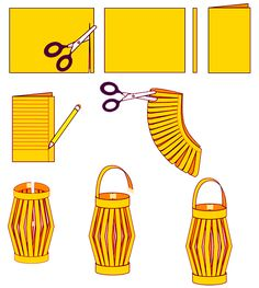 How to Make Chinese Paper Lanterns - I was surprised to see these are still being made; they were a regular craft when I was in elementary school in the It's good to know there is something I c (Diy Paper Lanterns) New Year's Crafts, Holiday Crafts, Kids Crafts, Craft Projects, Arts And Crafts, Paper Crafts, How To Make Crafts, Art Crafts, Preschool Crafts