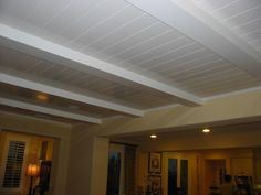 Covering Drop Ceiling Tiles With Fabric Diy Drop Ceiling Makeover Drop Ceiling Alternatives Decorative Ceiling Tiles Styrofoam Ceiling Tile Ideas Ceiling Design Types' Replace Drop Ceiling' Copper Ceiling Tiles or Basement Ceiling Insulation, Drop Ceiling Basement, Basement Ceiling Options, Basement Flooring, Basement Ideas, Plank Ceiling, Open Basement, Basement Decorating, Basement Bars