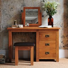 Oakland Dressing Table Set with Free Delivery from The Cotswold Company. Oak Furniture, Wooden Dressing Table and Stool, Bedroom Furniture.