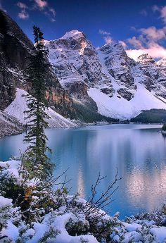 First Snow, Moraine Lake, Banff National Park, Alberta, #Canada. Photo: Majo Smik #traveldestinations