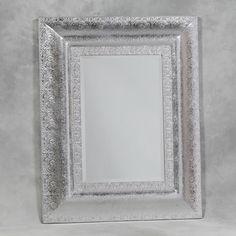 Silver Metal Embossed Large Mirror