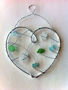 Sea Glass Sun Catcher/ Wall Decor Handmade Heart: Wire- Wrapped White, Green, and Blue Genuine Sea Glass