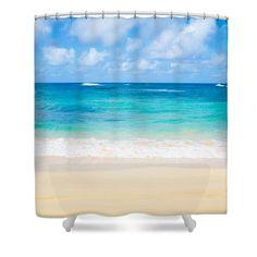 Hawaiian Paradise By Elena Chukhlebova Shower Curtain featuring the photograph Hawaiian Pardise by Elena Chukhlebova #showercurtain #ocean #coastal #bathdecor #elenachukhlebova