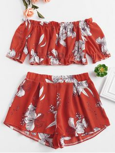 6adc17558b3f Off Shoulder Floral Top And Shorts Set