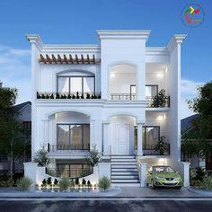Dawar Siddiqui Classic House Exterior, Modern Exterior House Designs, Dream House Exterior, Modern House Design, Exterior Design, 4 Bedroom House Designs, Bungalow House Design, House Outside Design, House Front Design